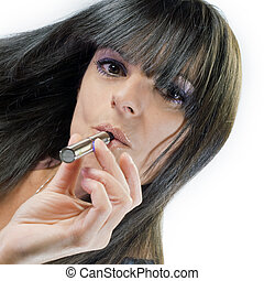 beautiful girl smoking electronic cigarette - brunette...