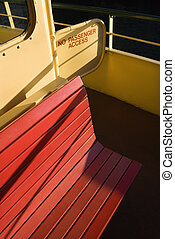 Bench on ferryboat. - Bench on ferryboat with access entry...