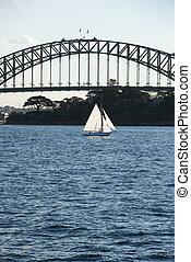 橋, シドニー, 港, ボート