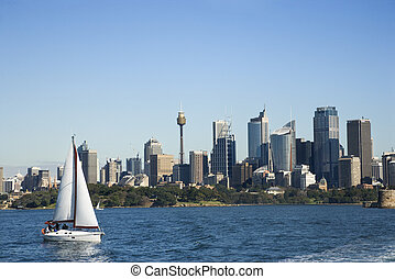 Cityscape of Sydney, Australia. - Skyscrapers and sailboat...