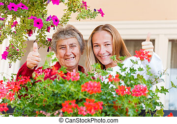 Home care - Thumbs up because everything is all right