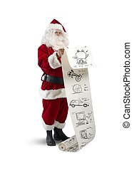 Santa Claus with gifts list - Concept of Santa Claus with...