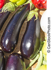 Eggplant Brinjal Vegetable Closeup on sun light