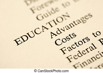 Education table of contents. - Selective focus of table of...