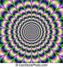 Psychedelic Pulse in Purple and Green - Digital abstract...