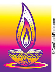 Diwali Candle Light - Indian new year celebrating oil lamp...