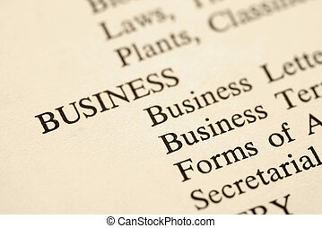 Business categories - Page with the word business and...