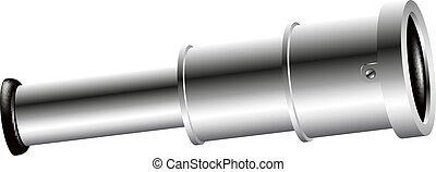 Vintage spyglass in silver design on white background