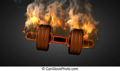 burning dumbbell. alpha matted