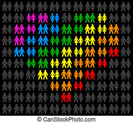 Homosexual Couples - Icons of gay couples, that form a...
