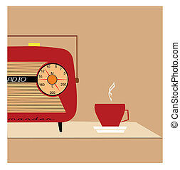retro radio concept - half radio on table with coffee...