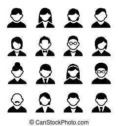 User icons set 1 - Family Icons and People Icons with White...