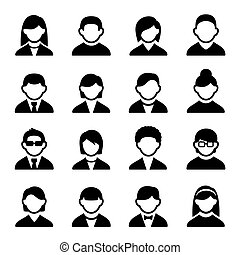 User icons set 2 - Family Icons and People Icons with White...