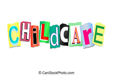 Childcare concept. - Illustration depicting cutout printed...