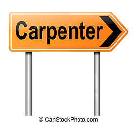 Carpenter concept - Illustration depicting a sign with a...