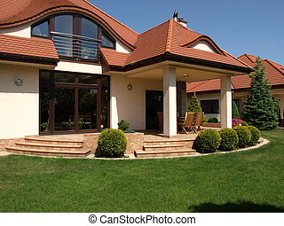 Luxury mansion - Luxurious mansion view see from green lawn