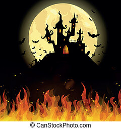 Vector Halloween Castle - Vector Illustration of a Scary...