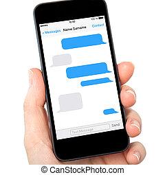 mulher, segurando, tela, sms, isolado, mão, telefone,...