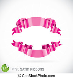 Pink Satin Ribbons Illustration, Icons, Button, Sign,...