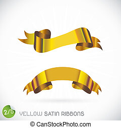 Yellow Satin Ribbons Illustration, Icons, Button, Sign,...