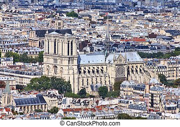 Paris, France - aerial city view with Notre Dame cathedral....