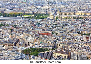 Paris, France - aerial city view with old architecture....