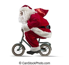 Santa claus on the bike on white background