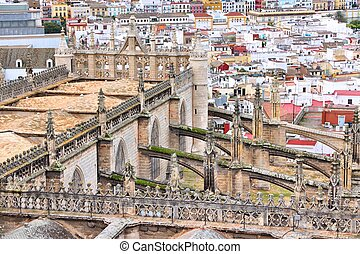 Seville cathedral - Seville, Spain - aerial view of the...