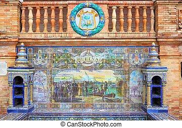 Huelva decoration - Seville, Spain - famous Plaza de Espana...