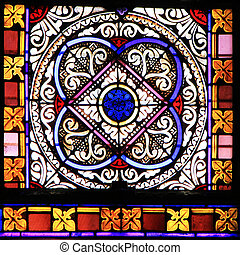 Colourful seamless stained glass in Chusclan, France -...