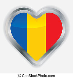 Romanian Flag Heart Glossy Button