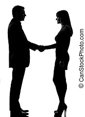 one couple man and woman handshake - one caucasian couple...