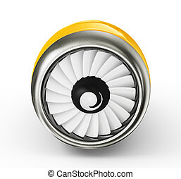 turbine - yellow turbine isolated on a white background