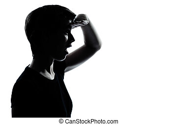 one young teenager girl looking forward silhouette