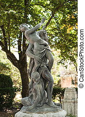 Antique statue in park of Queluz, Sintra, Portugal