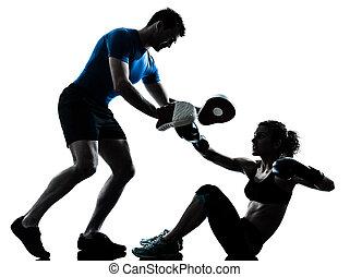 treinamento, mulher, boxe, homem