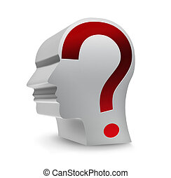 unknown person - head with question mark on a white...