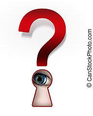 curiosity - Spying eye under a question mark