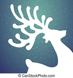 reindeer winter background stars and snow