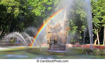Veliky Novgorod - Sadko fountain with rainbow