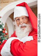 Man Dressed As Santa Claus - Closeup portrait of senior man...