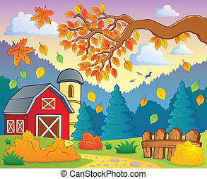 Autumn theme landscape 1 - eps10 vector illustration