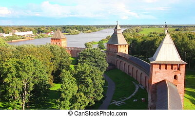 Veliky Novgorod - view from Kokuy tower on Kremlin, city and...