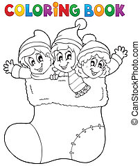 Coloring book image Christmas 1 - eps10 vector illustration.