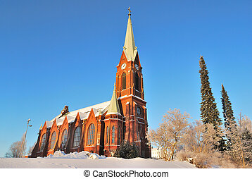 Mikkeli, Finland. Lutheran Cathedral before early winter...