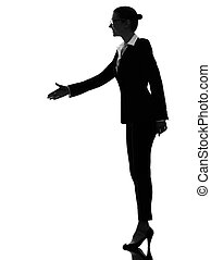 business woman handshake silhouette - one caucasian business...