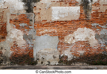 Old door and old brick wall as background