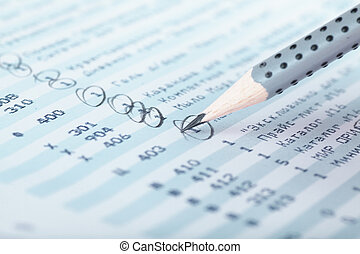 Financial report - Closeup view of lead pencil on a...