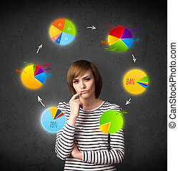Thoughtful young woman with colorful pie charts circulating...