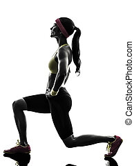 woman exercising fitness workout lunges crouching silhouette...